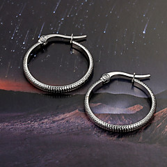 European  fashion Small round tooth edge titanium steel diamond  Silver  Hoop Earrings Wedding / Party /  Casual 2pcs