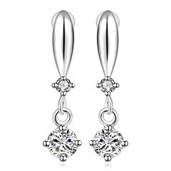 lureme® Fashion Style Silver Plated Drop Cross Shaped with Zircon Stud Earrings
