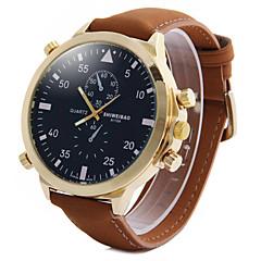 Men's Fashion Big Dial Khaki Leather Strap Quartz Watch Wrist Watch Cool Watch Unique Watch