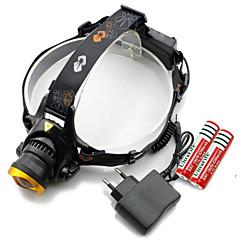 Fejlámpák Cap lámpák LED izzók LED 3000 Lumen 3 Mód Cree XM-L T6 18650 CR2 EgyébÁllítható fókusz Újratölthető Vízálló Ferde extruderfej