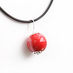 Fashion Classic Chinoiserie Jingdezhen Ceramic Red Roll Pendant Necklace
