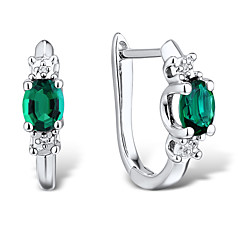 Women's Fashion Sterling Silver set with Create Emerald and Diamond Clip Earrings