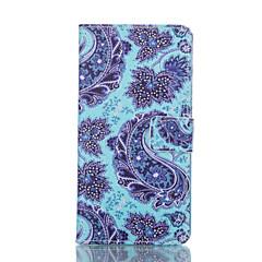 Blue Flower Painted PU Phone Case for Galaxy S6edge plus/S6edge/S6/S5/S5mini