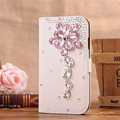 Handmade Diamond Gem Flower PU Leather Full Body Case with Kickstand for Samsung Galaxy S3/S4/S5/S5 mini/S6/S6 Edge