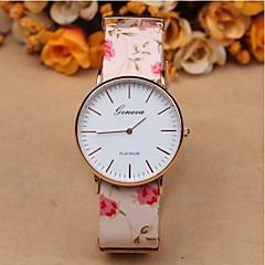 Geneva thin rose gold shell camellia casual watch