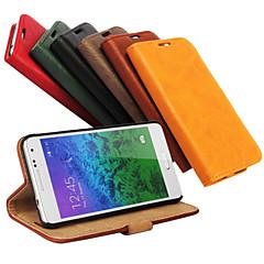 Mert Samsung Galaxy tok Kártyatartó / Pénztárca / Állvánnyal / Flip Case Teljes védelem Case Egyszínű Műbőr Samsung Alpha