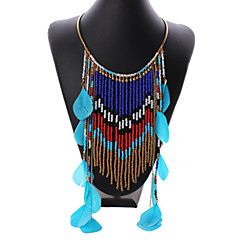 Women's Vintage Bohemian Style Feather Handmake Beaded Stateament Necklace