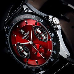 Men's Auto-Mechanical Fashion Design Watch Calendar PU Leather Strap