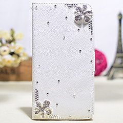 Handmade Diamond Five-petaled Flowers PU Leather Full Body Case with Kickstand for Samsung Galaxy Note 2/3/4/5
