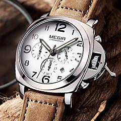 Herr Armbandsur Quartz Kalender / Kronograf / Vattenavvisande / Sportsklocka / Vardaglig klocka / Självlysande Genuine Leather Band Häftig