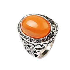 Statementringar Ädelsten Legering Blomma Form Karvad Orange Grön Smycken Dagligen Casual 1st