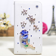 Handmade Diamond Blue Rose PU Leather Full Body Case with Kickstand for Samsung Galaxy Note 2/3/4/5