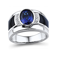 Men's Fashion Sterling Silver set with Created Sapphire\Black Onyx\Natural Diamond Ring