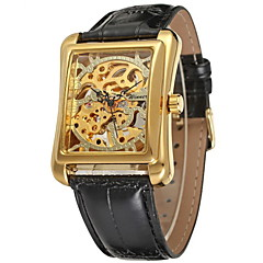 Men's Square Gold Dial Black Leather Band Manual Mechanical Skeleton Wrist Watch