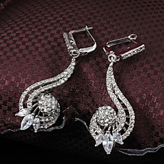 2015 Fashion 18K Gold Plated Noble Full CZ Stone Wedding Party Earrings For Woman&Lady