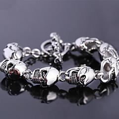 L:23CM Wide:1.5CM Fashion Stainless Steel Silver 316L Men Cool Skull Link Cuff Bracelet(1PC)