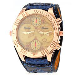 Unisex Vintage Map Pattern Wide PU Band Quartz Watch Wrist Watch Cool Watch Unique Watch