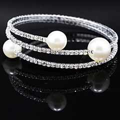 Fashion Pearl Crystal Two Layer Bracelet Bangle for Party Women