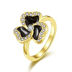 Fashion Diamante Clover Multicolor 18K Gold Gold-Plated Statement Rings(Golden,Rose Gold,White)(1Pcs)