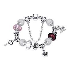 Vintage Women's Butterfly Flower Loving Hearth Stoving Varnish Glass Silver Plated Tin Alloy Charm Bracelet(Silver)(1Pc)