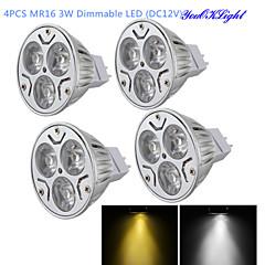 3W GU5.3(MR16) תאורת ספוט לד MR16 3 לד בכוח גבוה 300 lm לבן חם / לבן קר עמעום / דקורטיבי DC 12 V ארבעה חלקים