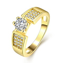 Fashion Exquisite Famale Flower Diamante White Zircon Gold-Plated Statement Rings(Golden,Rose Gold,)(1Pcs)