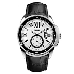 Skmei® Men's Fashion Multifunction Genuine Leather Watch 30m Waterproof Assorted Colors Wrist Watch Cool Watch Unique Watch