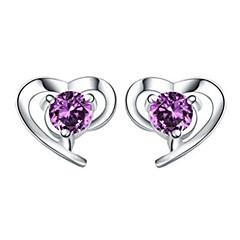 Dame Stangøreringe Krystal Kærlighed Hjerte kostume smykker Sølv Krystal Hjerteformet Smykker Til Bryllup Fest Daglig
