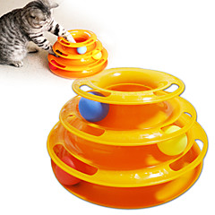 고양이 반려동물 장난감 인터렉티브 Track / 접시 / 공 트랙 디스크 그린 / 옐로우 플라스틱