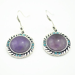 Vintage Look Antique Silver Plated Round Turquoise Amethyst Crystal Stone Drop Dangle Earring(1Pair)