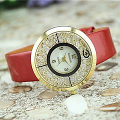 Dames Modieus horloge Kwarts imitatie Diamond Leer Band Zwart Wit Blauw Rood Bruin roze Zwart Fuchsia Bruin Rood Blauw