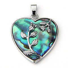European Style Heart Shape Alloy Shell Pendant Necklace(Blue)(1Pc)
