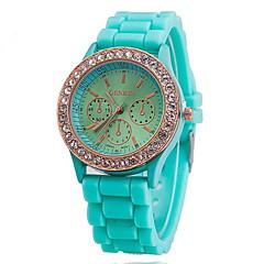 Reloj Brazalete Analógico de Muñeca para Mujer con Corona de Diamante y Correa de Silicona (Varios Colores)