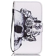 For Samsung Galaxy Etui Kortholder / Lommebok / med stativ / Flipp Etui Heldekkende Etui Hodeskalle PU-lær SamsungS6 edge plus / S6 edge