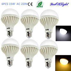 YouOKLight® 6PCS E27 15W 24*SMD5630 1000LM Warm White/ White Light  LED Energy saving Globe Bulbs (AC 220V)