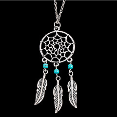 Lureme®  European Style Sweet  Dreamcatcher Leaves Kallaite Sweater Chain Alloy Necklace