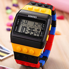 Herre Armbåndsur Digital LCD / Kalender / Kronograf / alarm Plastic Band Svart / Hvit / Blå / Pink / Mangefarget Merke-