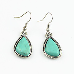 Vintage Look Antique Silver Plated Alloy Water Drop Turquoise Stone Dangle Earring(1Pair)
