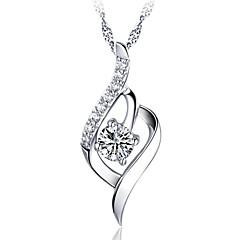 Lureme®Korean Fashion  Joker 925  Sterling Silver    Crystal Heart-Shaped Pendant Necklace