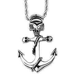 Fashion Stainless Steel Silver Men Gift Skull Skeleton Anchor Necklace Pendant(1PC)