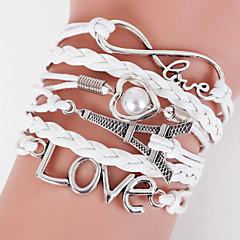 Multilayer Eiffel Tower & Love Weave Bracelet,White inspirational bracelets