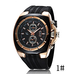 V6 Series Fashionable Silicone Strap Fake Two Men Sports Watch Business Table Cool Watches Unique Watches
