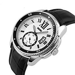 Herren Armbanduhr Japanischer Quartz Kalender Leder Band Schwarz Marke- SKMEI