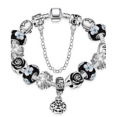 Women Strand Beads Bracelets Beads Glass Beads Charm Bracelets & Bangles Silver European beads  Gift PH014