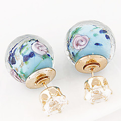 European Style Concise Fashion Imitation Ceramic Flower Double Side Earrings