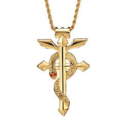 Fashion 316L Stainless Steel Alchemist Snake Cobra Domineering Religious Totem Cross Necklace Pendant for Men
