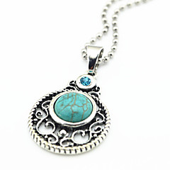Vintage Look Antique Silver Round Crystal Turquoise Stone Small Necklace Pendant(1PC)