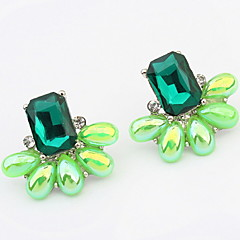 European And American Fashion Elegance Gem Green Crystal Earrings