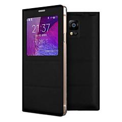 For Samsung Galaxy Note Med vindue Flip Etui Heldækkende Etui Helfarve Kunstlæder for Samsung Note 4