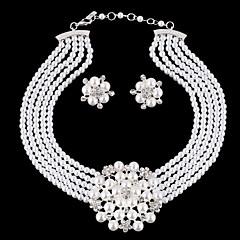 Luxury Diamond Texture Flowers Pearl Necklace Suit
